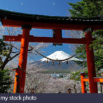 snowy-mount-fuji-view-through-torii-shinto-shrine-gate-at-fuji-sengen-D8B3G9